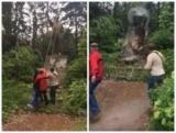 В Киеве повалили последний памятник Ленину